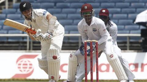 Williamson reached his hundred after hitting Sulieman Benn for successive fours (Source: AP)