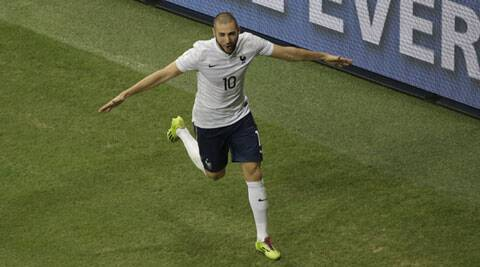 Benzema has scored nine goals in the past eight games and improved his tally to 24 in 68 games overall for France. (Source: AP)