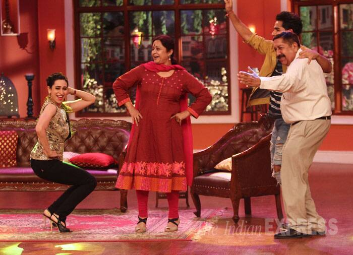 Karisma Kapoor seems to be having a ball as she shows off her moves. (Source: Varinder Chawla)
