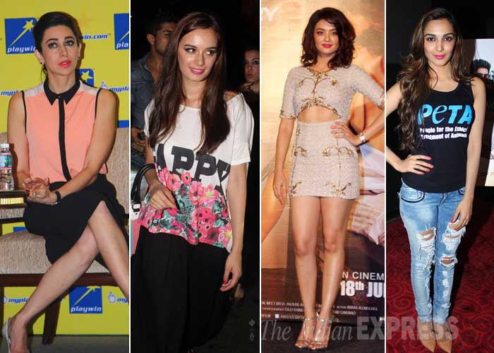 Bollywood beauties Karisma Kapoor, Kiara Advani, Evelyn Sharma and Surveen Chawal stepped out in their summery best for their respective promotions on Thursday (June 5) in Mumbai. (Source: Varinder Chawla)
