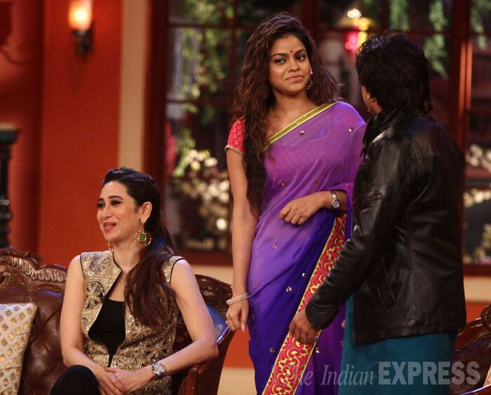 Actress Sumona Chakravarti, who plays Kapil's wife, also joined in the madness. (Source: Varinder Chawla)