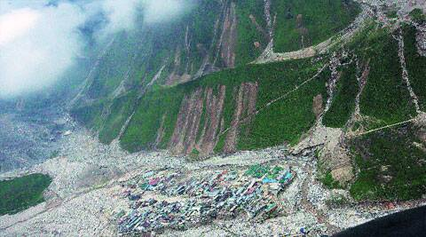 The area near the Kedarnath shrine still has reminders of last year's flood.( Tashi Tobgyal)