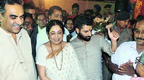 MP Kirron Kher at Sri Jagannath Temple in Sector 31, Chandigarh, on Sunday. (Source: Express photo)