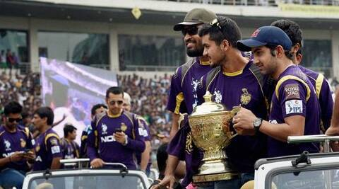 Kolkata Knight Riders players Gautam Gambhir, Sunil Narine and Yusuf Pathan during a felicitation ceremony for the team's victory at IPL - 7 tournament at Eden Garden in Kolkata. (Source: PTI)