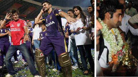 Shah Rukh Khan and Manish Pandey celebrate the trophy in with a dance; (right) KKR skipper Gambhir after arriving in Kolkata (Source: PTI and Express Photo by Partha Paul)