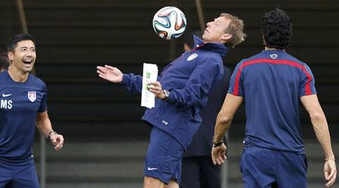 USA coach Klinsmann during a training session. The side lost 2-1 to Ghana in both their previous encounters in World Cups (Source: AP)