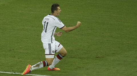 Klose celebrates after scoring against Ghana. It was his 15th World Cup goal (Source: AP)