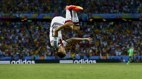 Germany's Miroslav Klose celebrates after scoring against Ghana (Source: Reuters)