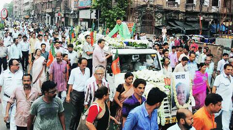 The funeral procession, in Kolkata, Tuesday. (Source: PTI)