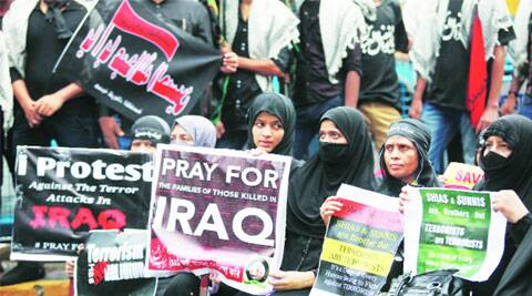 Muslims hold a rally against the terror attacks in Iraq, at R R Avenue in Kolkata, Friday. (Source: Express Photo)