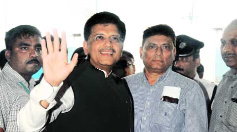 Piyush Goyal after meeting Mamata Banerjee in Kolkata, Thursday. (Source: Express photo by Subham Dutta)