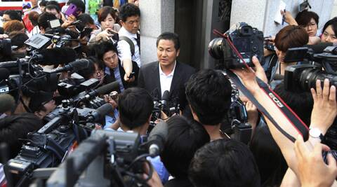 Kim Byung-gwon, a representative of families of passengers aboard the sunken ferry Sewol, speaks after a pretrial hearing of crew members of the ferry at Gwangju District Court in Gwangju, South Korea. (AP)