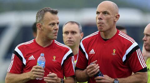 Kuipers seen here with English referee Howard Webb during a referee's training session. Though none of the errors were bore an effect on the match outcome, it has become a talking point amongst players and fans. (Source: AP)