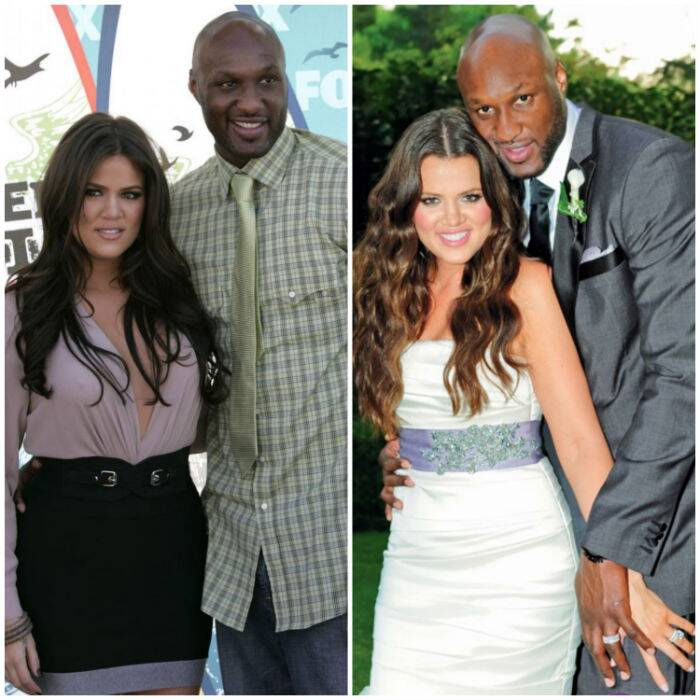 <b>Khloe Kardashian – Lamar Odom</b>: Reality television star Khloe Kardashian married NBA basketball player Lamar Odom on September 27, 2009. The marriage was a rushed one and took place exactly a month after the couple had met. However, in 2013, cracks began to form in their relationship due to Lamar's problems with addiction and substance abuse. Reports of Odom cheating on Khloe also did the rounds. Finally, after months of separation, on December 13, 2013, Kardashian filed for divorce from Odom.