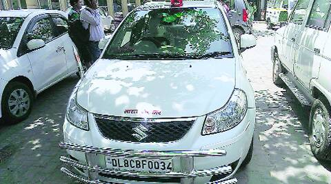 The Maruti SX4 car in which Munde was travelling on Tuesday.Tashi Tobgyal
