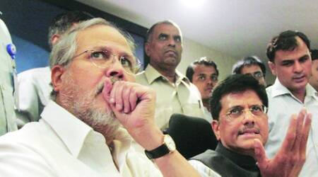 L-G Najeeb Jung and Power Minister Piyush Goyal at a press conference in the capital on Tuesday. (Express Photo: Prem Nath Pandey)