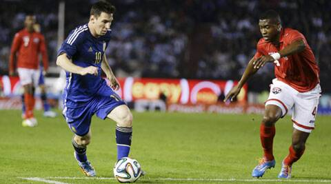 Lionel Messi in action for Argentina during a warm-up game against Trinidad & Tobago