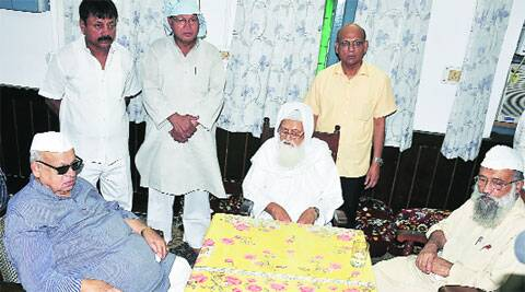Governor Aziz Qureshi (left) with All India Muslim Personal Law Board chief Maulana Rabey Hasani Nadvi at NADWA College, in Lucknow, Tuesday. (Pramod Singh)