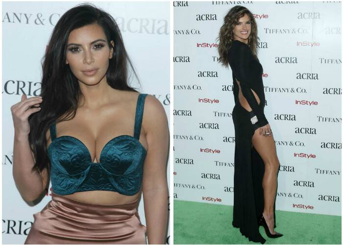 Reality television star Kim Kardashian and Victoria's Secret model Alessandra Ambrosio surely showed some skin in their risque dresses as they attended the 19th Annual ACRIA Holiday Dinner Honoring Larry Kramer and Bruce Weber at Skylight Modern in New York City on Wednesday (December 10). (Source: AP)