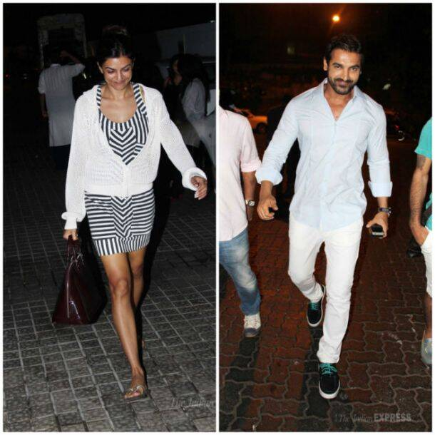 Bollywood celebrities Sushmita Sen and John Abraham were spotted on Monday night (June 2) in suburban Mumbai.