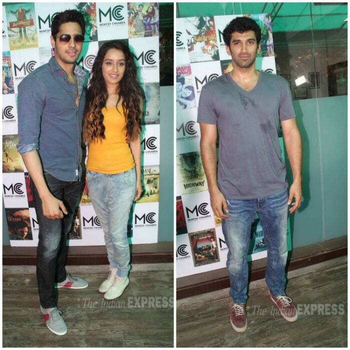 Bollywood beauty Shraddha Kapoor attended the launch of Mukesh Chhabra's Casting Company along with her onscreen and offscreen loves Sidharth Malhotra and Aditya Roy Kapur.  (Source: Varinder Chawla)