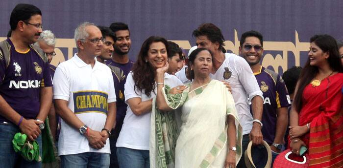 Also in attendance was the Chief Minister of Bengal, Mamata Banerjee, who has a keen interest in cricket and the IPL (Source: Express Photo by Partha Paul)