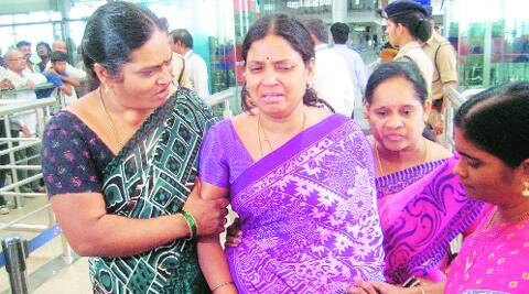Grieving relatives of some students who died in Mandi, in Hyderabad on Monday.