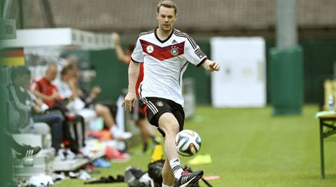 German national soccer player Manuel Neuer warms up during a training session in St. Martin, northern Italy, ahead of their World Cup campaign. (Source: Reuters)