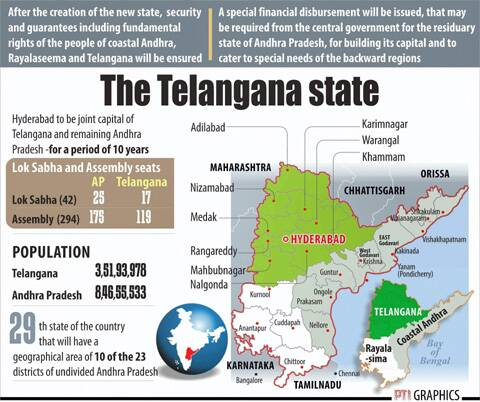 The Telangana State map. (Source: PTI)