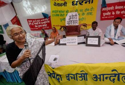 Medha Patekar protests in Delhi