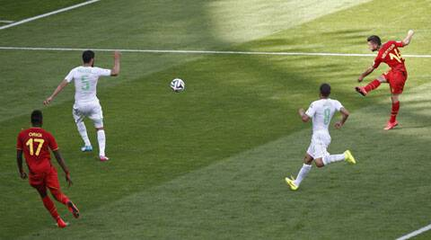 Algeria opened the scoring with a penalty in the 25th minute and kept the lead for 45 minutes before Fellaini and Mertens (above) scored (Source: Reuters)