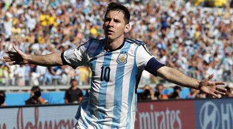 Lionel Messi celebrates after scoring his side's lone goal in extra time. (Source: AP)