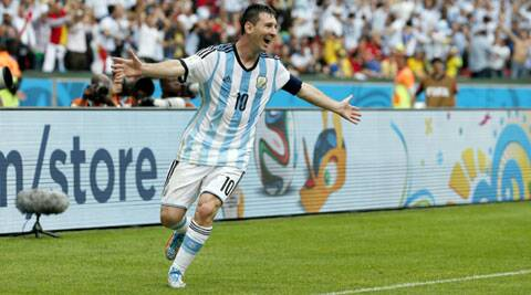 Lionel Messi celebrates after scoring Argentina's second goal against Nigeria. (Source: AP)