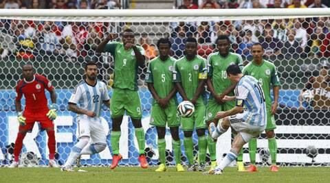 Lionel Messi's second goal - his fourth of the World Cup - curled into the top left corner and left Nigerian keeper Vincent Enyeama with no chance (Source: Reuters)