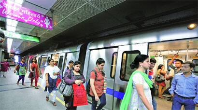 Commuters at the new Mandi House station in the capital. (Source: Express)