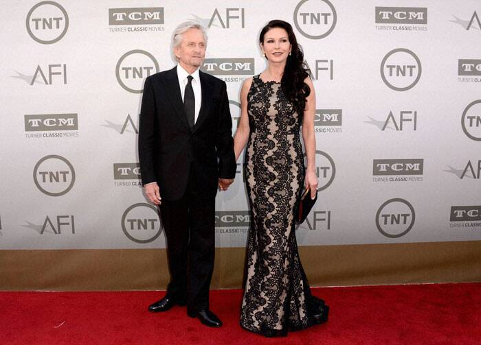 Bollywood couple Catherine Zeta-Jones and Michael Douglas, who recently reunited after a break due to differences in their marriage, made a lovely pair as they attended the 42nd American Film Institute's Lifetime Achievement Award Tribute Gala at the Dolby Theatre. (Source: AP)