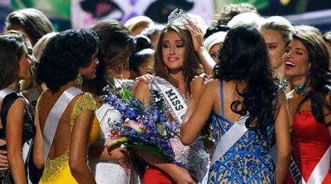 Miss Nevada USA Nia Sanchez celebrates with her competitors after being crowned Miss USA during the pageant in Baton Rouge, La., Sunday, June 8, 2014. Source: AP Photo