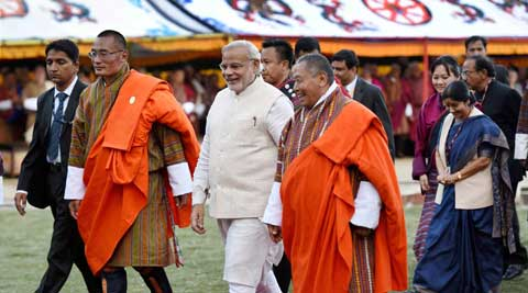 Prime Minister Narendra Modi with his Bhutanese counterpart Tshering Tobgay. (Source: PTI)