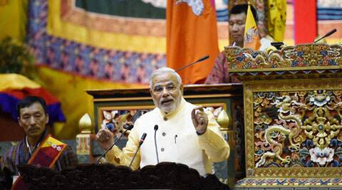 Prime Minister Narendra Modi addressing the National Assembly in Thimphu, Bhutan on Monday. (Source: PTI)