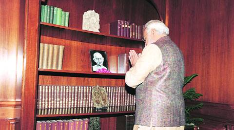 Paying homage to Gandhi after assuming office