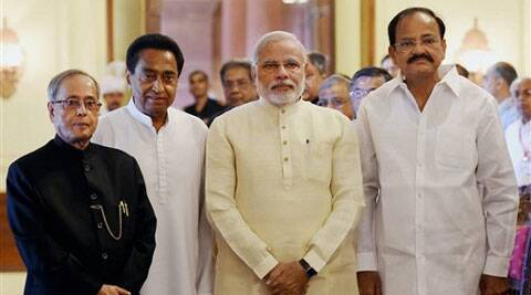 President Paranab Mukherjee, PM Narendra Modi, Union Minister for Parliamentary Affairs M Venkaiah Naidu and Senior Congress leader Kamal Nath.  ( Source: PTI )