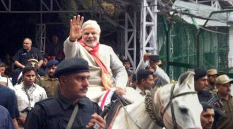 PM Modi rides a pony during his visit to Mata Vaishno Devi shrine in Katra while poll campaigning. (Source: PTI)