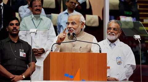 """Yeh dil maange more,"" said Prime Minister Narendra Modi after the successful satellite launch. (Source: PTI)"