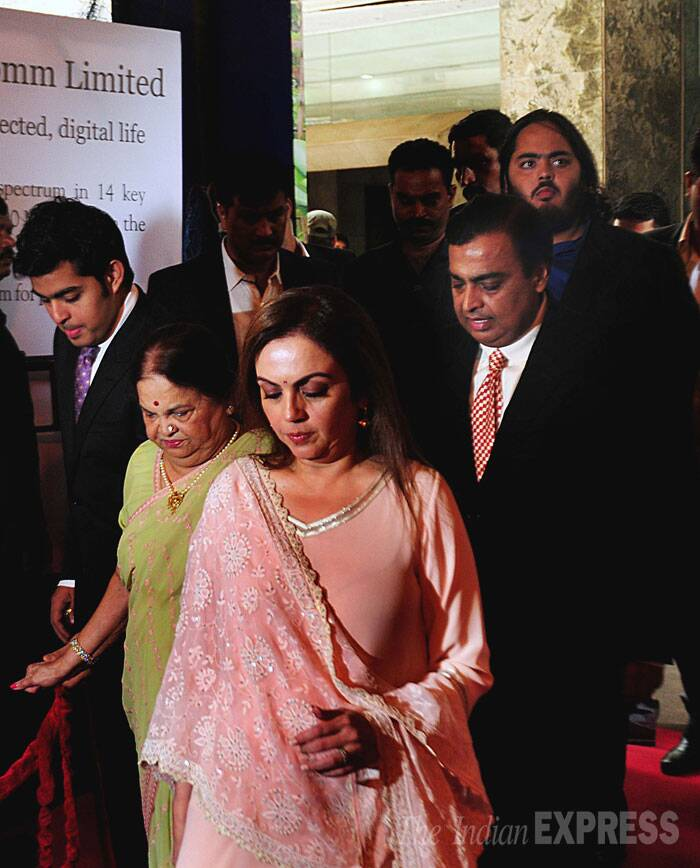 Mukesh Ambani with family members during RIL's AGM in Mumbai. (IE photo: Pradip Das)