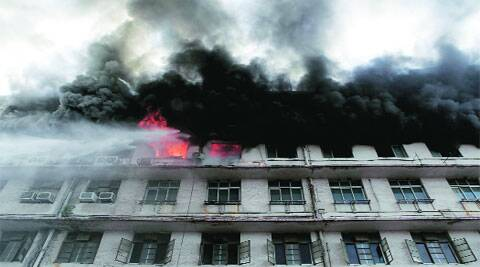 Eight fire engines were rushed to the new administrative building of the Central Railway on D N Road, Friday