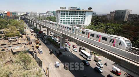 After several missed deadlines, Mumbai's first Metro corridor started its commercial operations on Sunday. (Source: Express Photo by Pradip Das)
