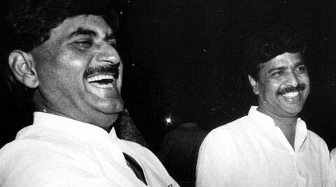 Seen here, Gopinath Munde and Pramod Mahajan in the year 1995. (Source: Express archive)