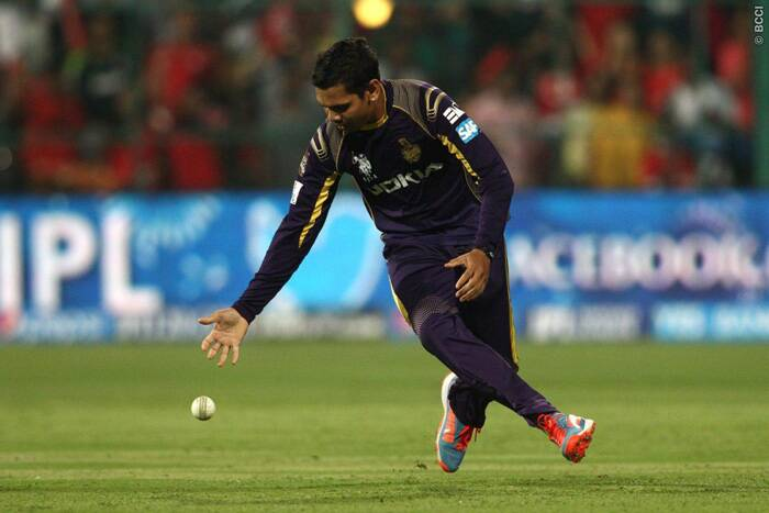 The most economical bowler of the IPL 7 was taken to all corners of the park by KXIP batsmen. Sunil Narine returned with figures of 1/46 from his four overs. He even dropped the catch of Saha. (Source: BCCI/IPL)