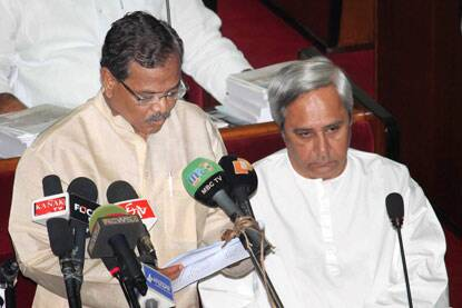 Odisha Finance Minister Pradip Kumar Amat presenting the budget in the State Assembly in Bhubaneswar on Tuesday. Chief Minister Naveen Patnaik is also seen. (Photo: PTI)
