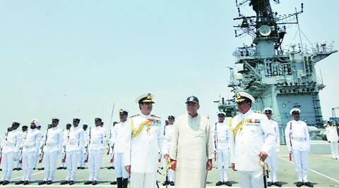 Defence Minister Arun Jaitley with Navy Chief Admiral R K Dhowan during a visit to INS Viraat in Mumbai on Saturday.
